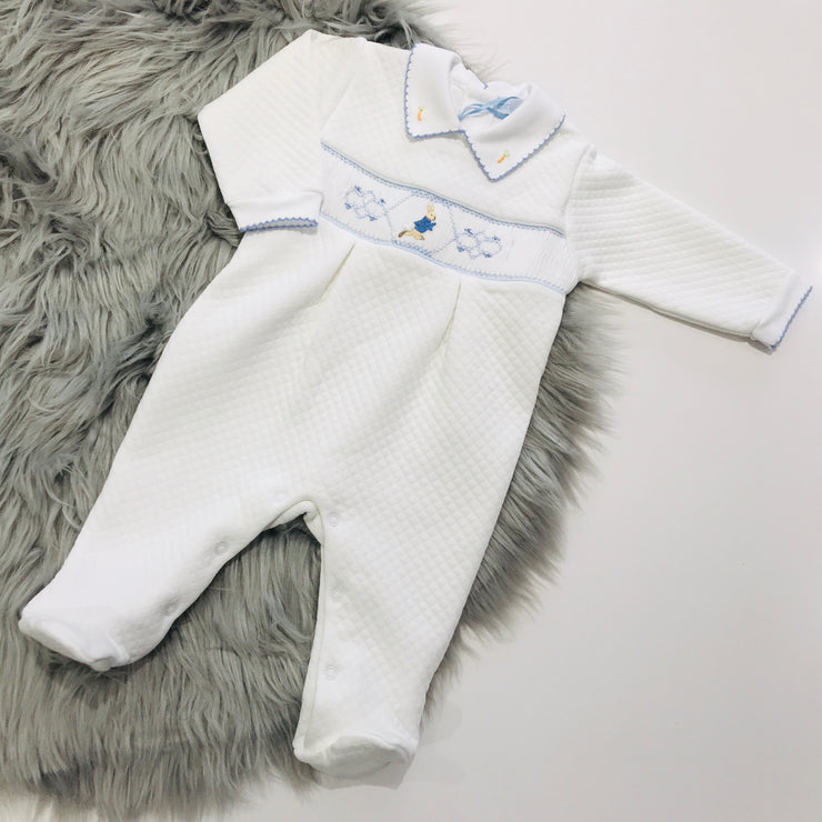 Single Peter Rabbit Smocked Quilted Footsie