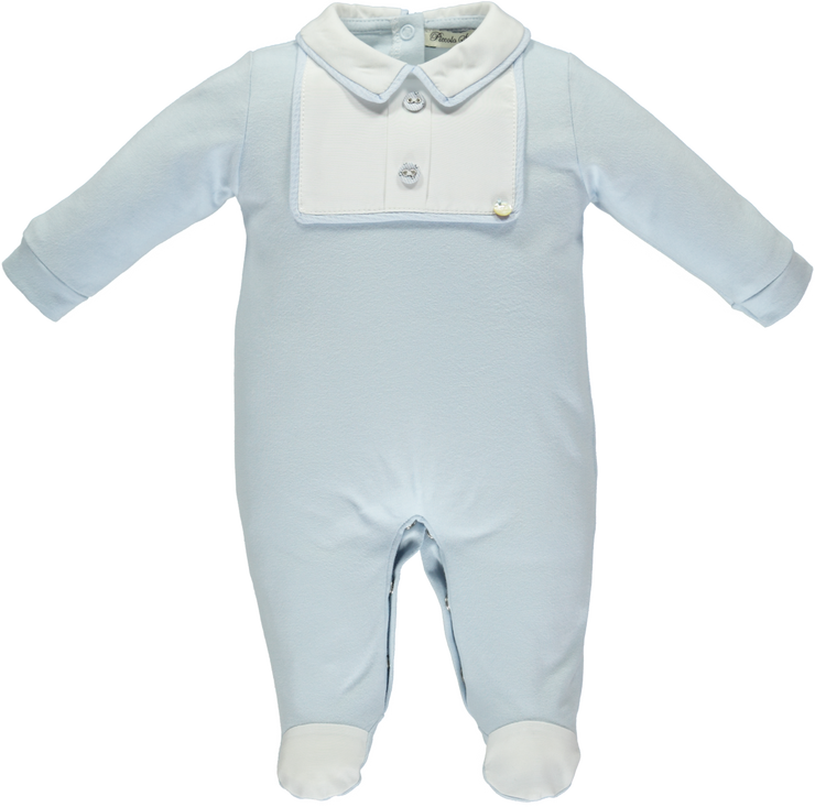 Blue & White Cotton Babygrow