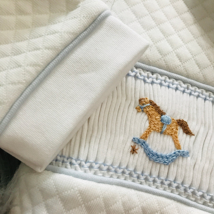 Rocking Horse Smocked Quilted Footsie Cuff