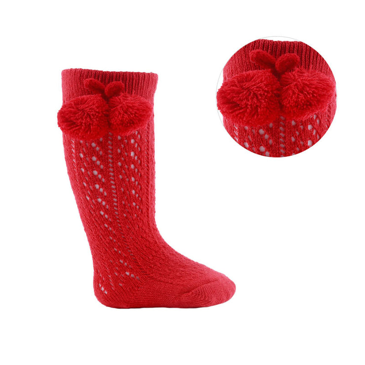 Red Knee High Open Weave Pom Pom Socks