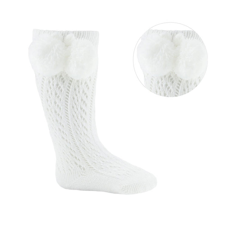 White Knee High Open Weave Pom Pom Socks