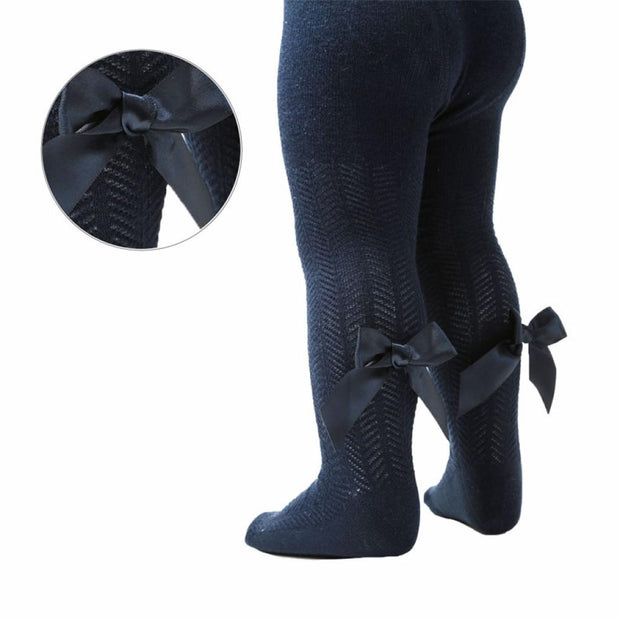 Navy Tights With Back Bow