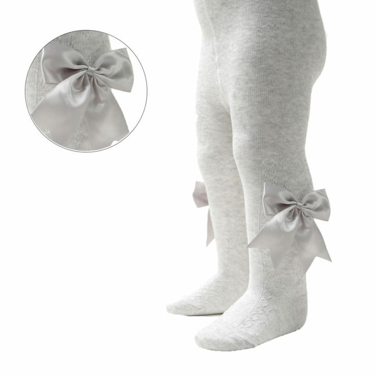 Grey Heart Patterned Tights With Side Bow