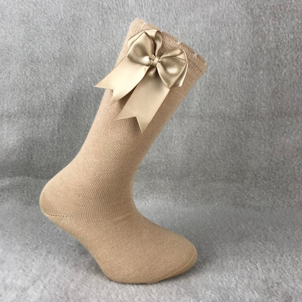 Camel Knee High Double Side Bow Spanish Socks