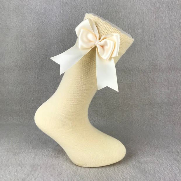 Oatmeal Knee High Double Side Bow Spanish Socks