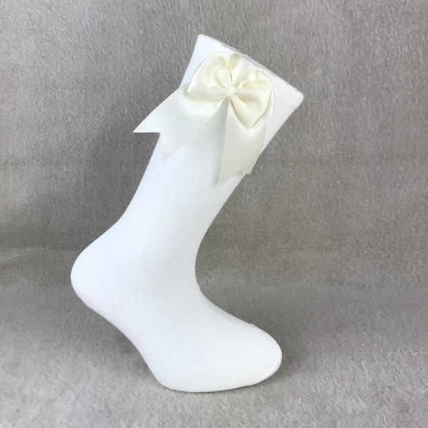 Ivory Knee High Double Side Bow Spanish Socks