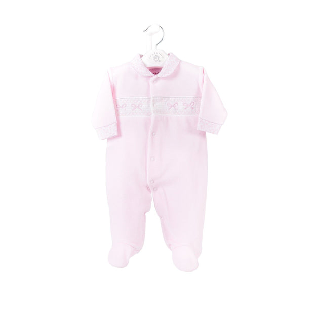 Baby Pink Smocked Velour Sleepsuit