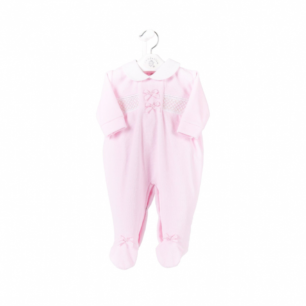 Baby Pink Satin Bow Smocked Velour Sleepsuit