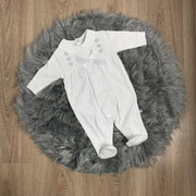 White Smocked Cotton Sleepsuit