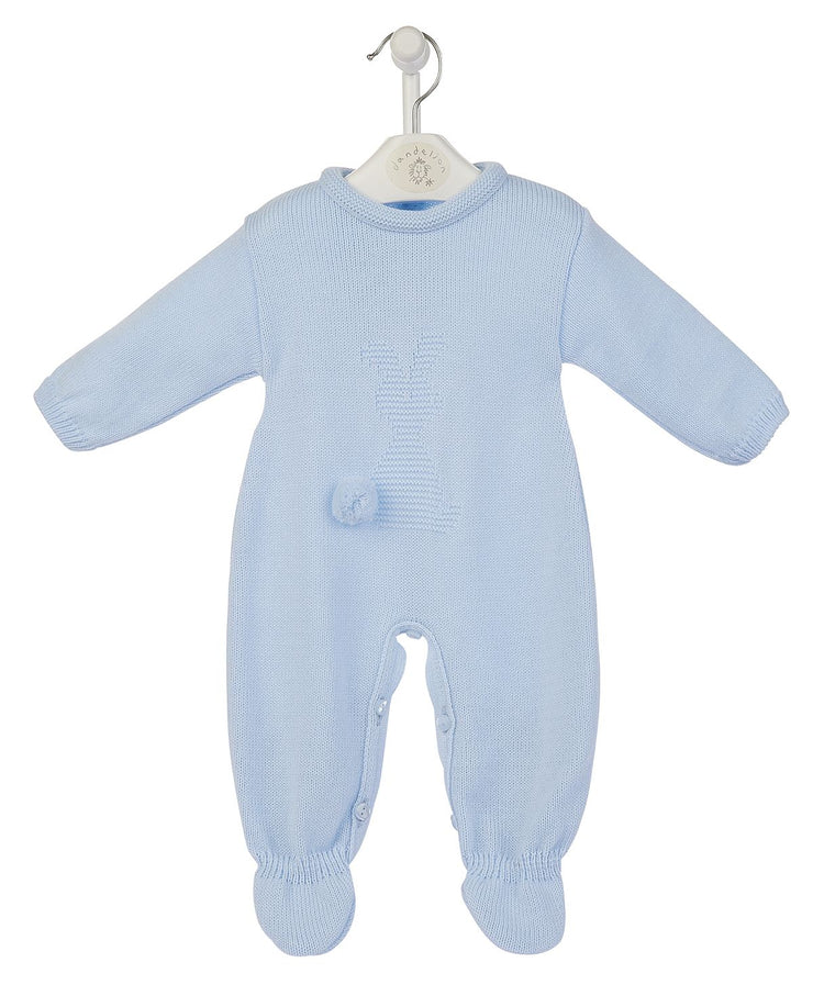 Baby Blue 'Bobtail Bunny' Knitted Romper