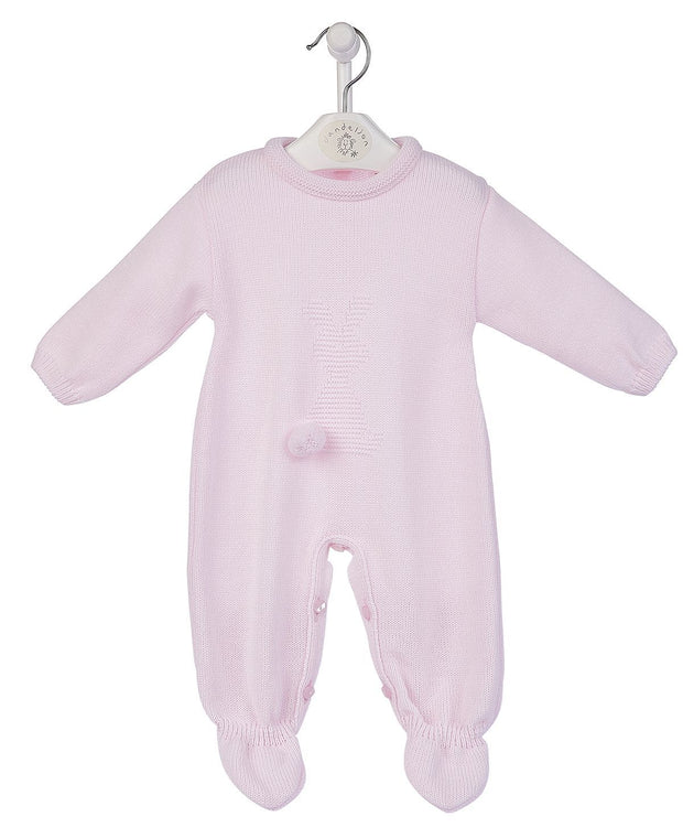 Baby Pink 'Bobtail Bunny' Knitted Romper
