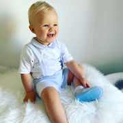 White & Sky Blue Spanish Dungaree Short Set Sitting