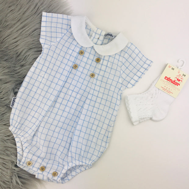 Baby White & Blue Graph Check Romper