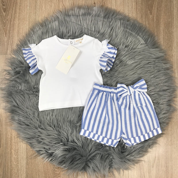 White T-Shirt & Blue Striped Shorts Set