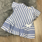 Blue Striped Dress & Leggings Set