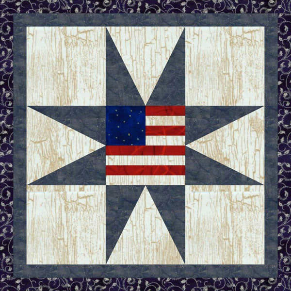 Flag Within an Eight Point Star
