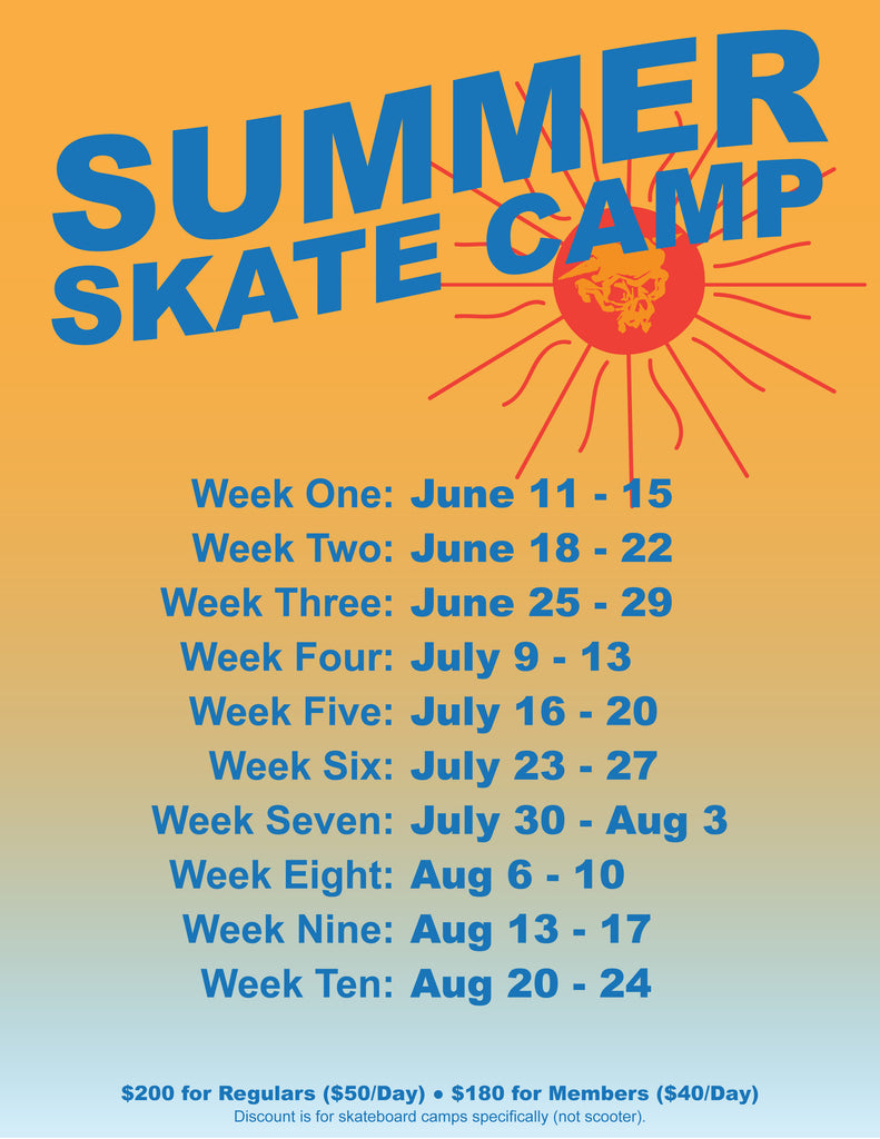 Summer Skateboard Camp Single Day Registration is now available