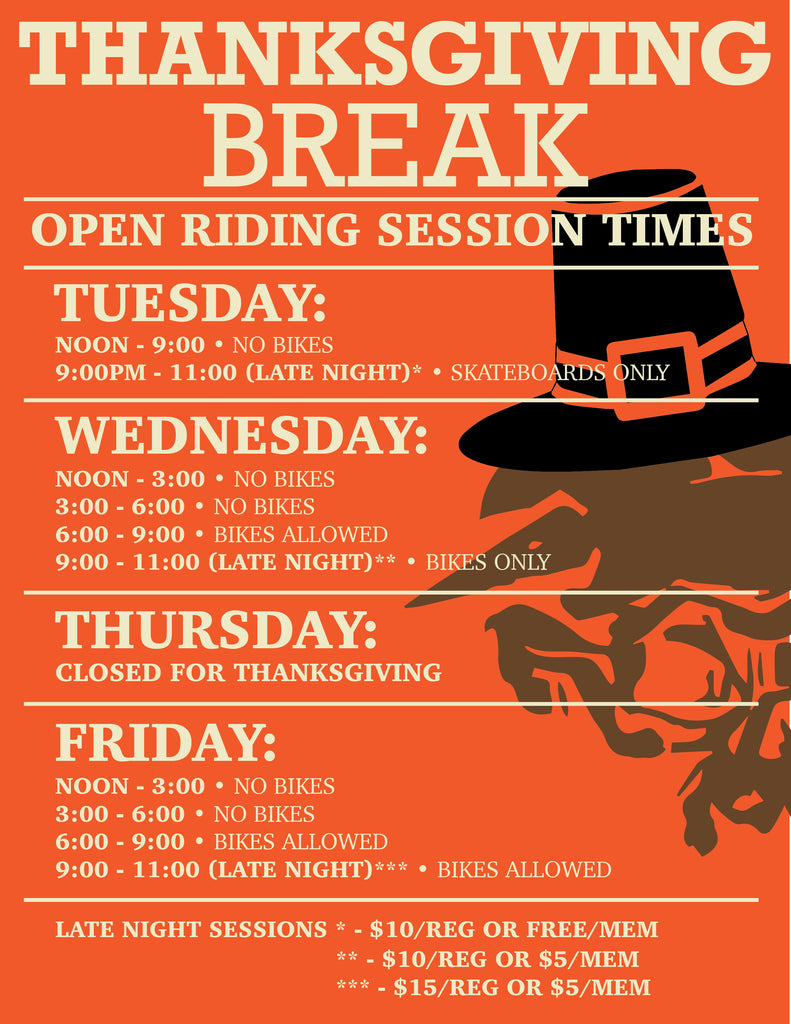 Thanksgiving Break Session Times - Late Sessions Tue/Wed/Fri