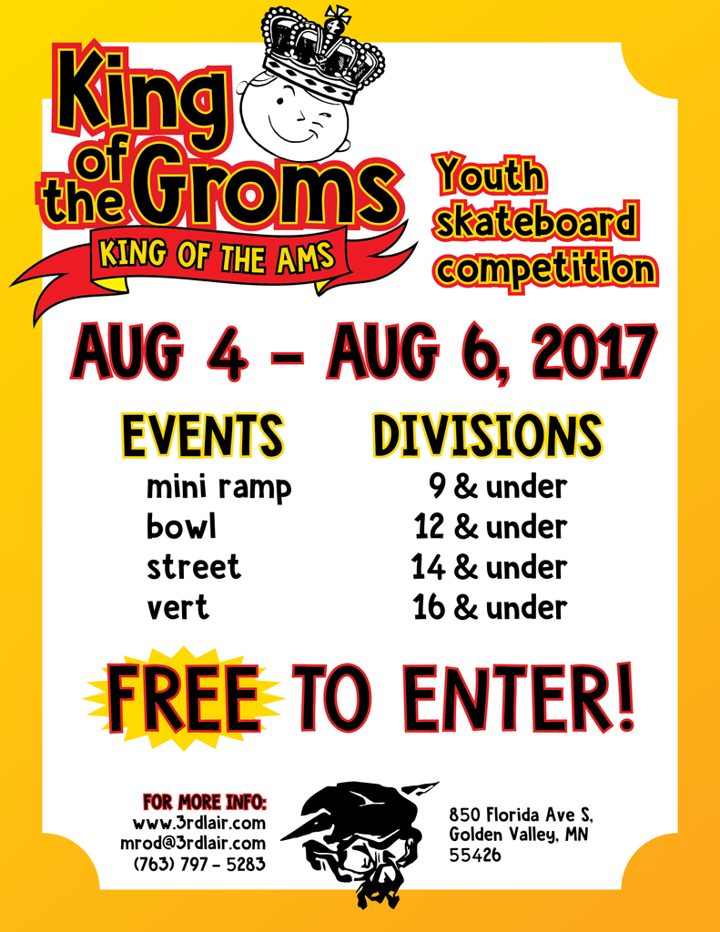 2017 King of the Groms/Ams Official Schedule