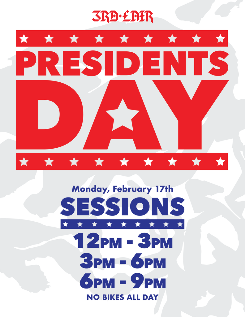 Presidents Day Open Riding Session Times - Monday Feb 17