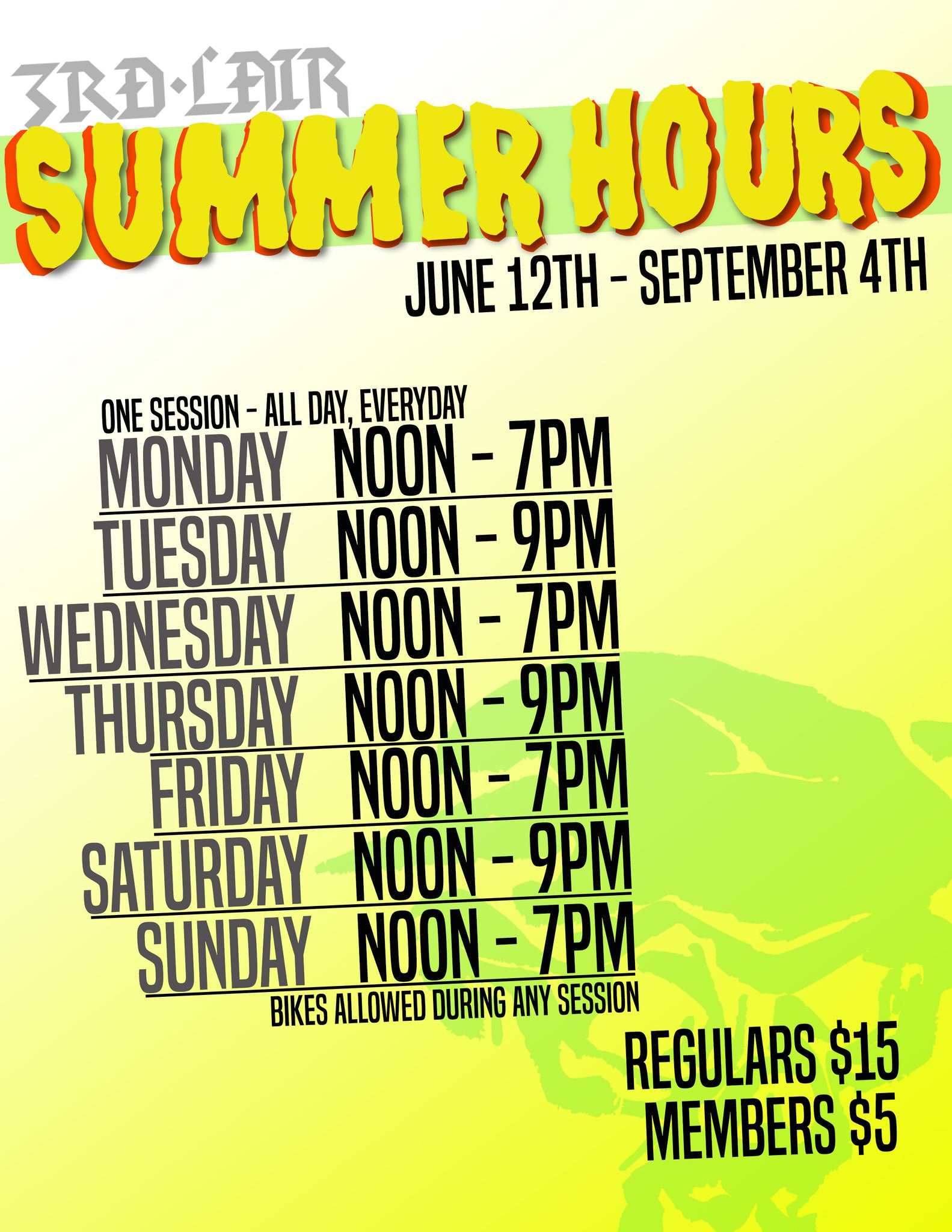 Summer Hours and Rates