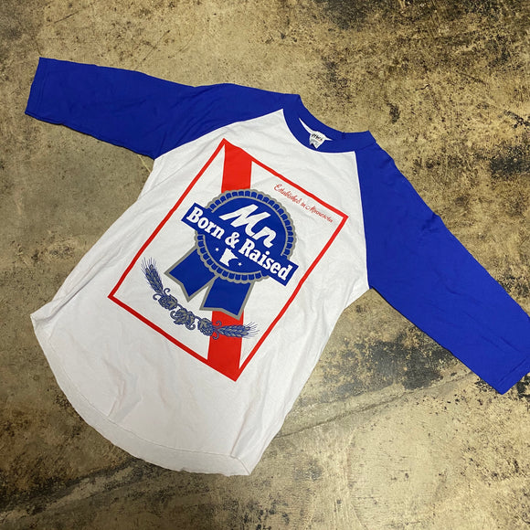 REP MN BORN AND RAISED LONG SLEEVE TEE (BLUE)