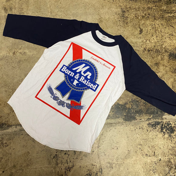 REP MN BORN AND RAISED LONG SLEEVE TEE (NAVY)