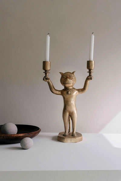 Cat Candle Holder - Brass
