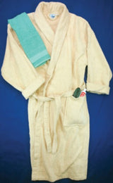 Robe. Terrycloth with attached belt. Assorted solids.