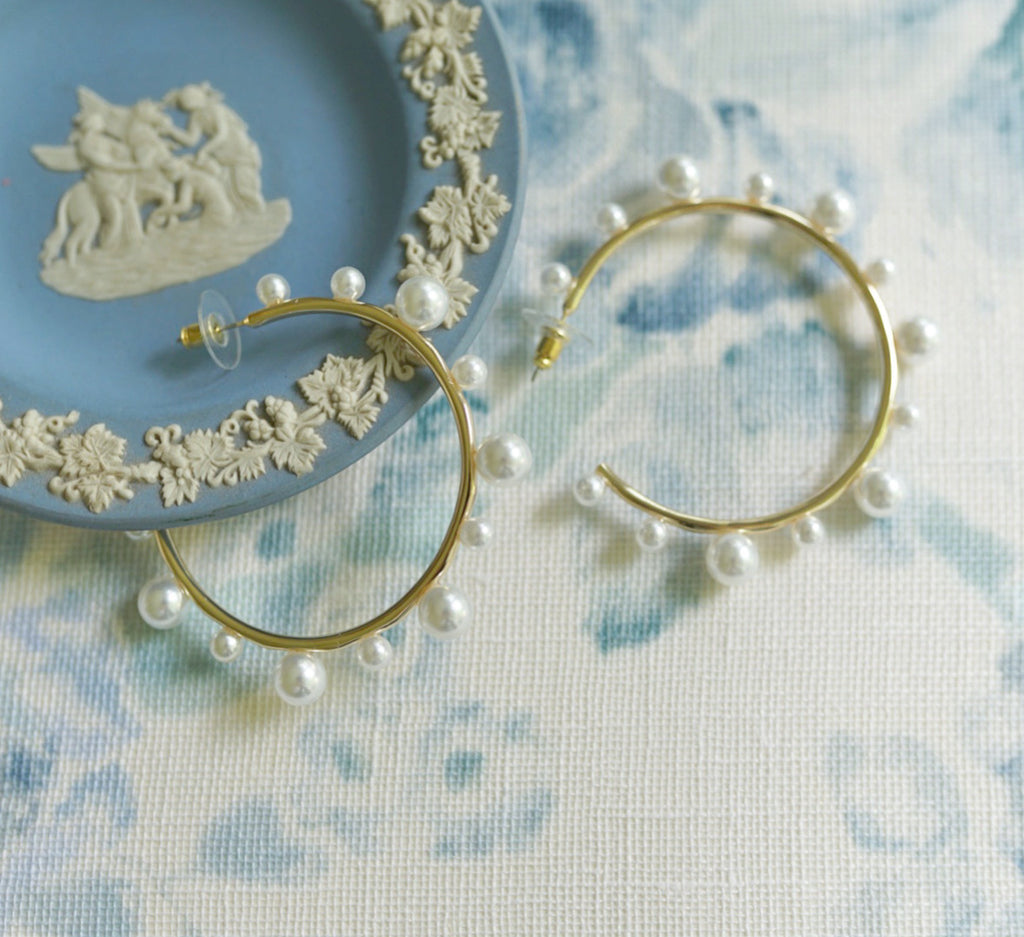 collection earrings: pearl hoops