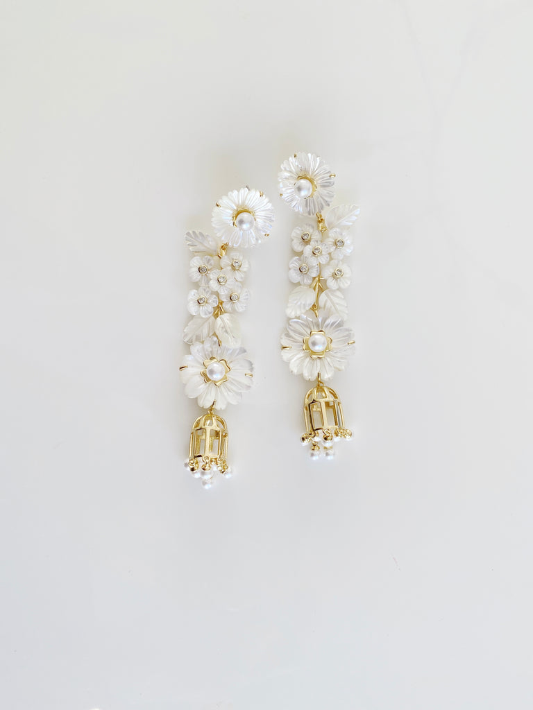 collection earrings: mother of pearl + pearl + bird cage earrings