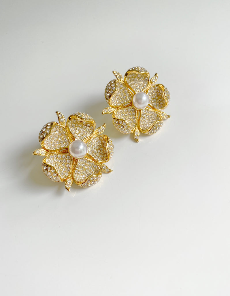 collection earrings: embellished floral studs