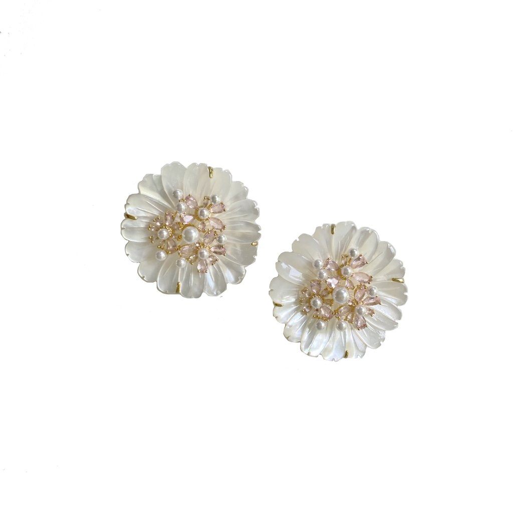 collection earrings: mother of pearl + rose quartz studs