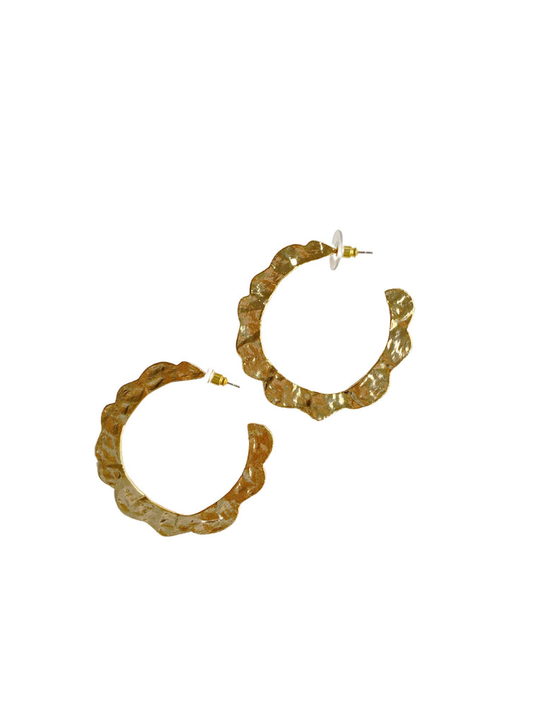 collection earrings: golden scalloped helen hoops