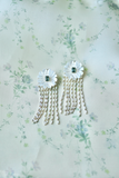 collection earrings: mother of pearl + quartz + embellished tassels
