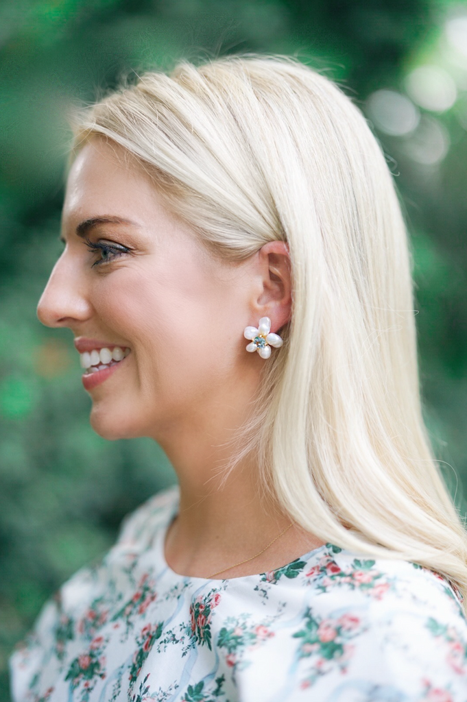 garden collection: freshwater pearls + light green quartz hydrangea studs
