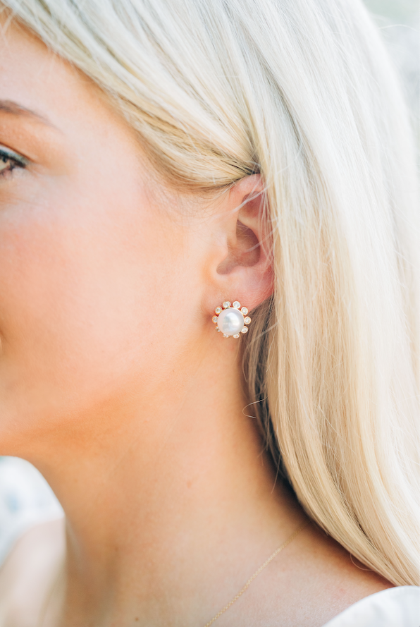 stud collection: pearl + embellished bubble stud