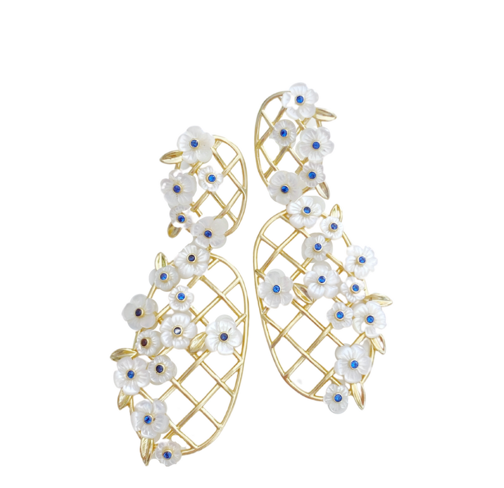 garden collection: golden trellis + mother of pearl flowers + sapphire blue glass