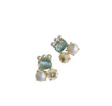 pre order: stud collection: paris blue + pearly abstract stud