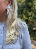 mother of pearl + embellished center stud