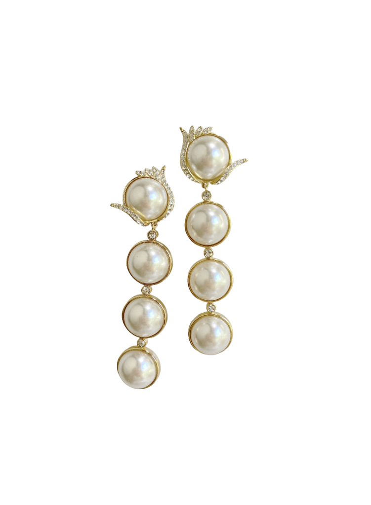 collection earrings: embellished pearly drop earring