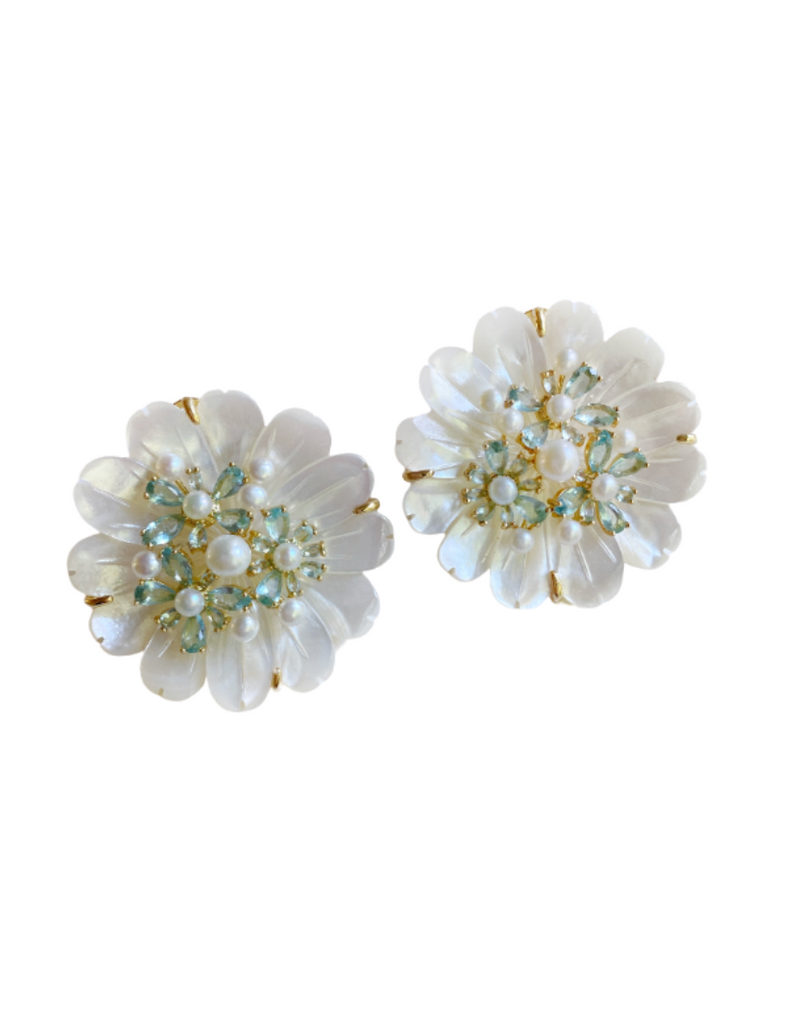 collection earrings: mother of pearl + aquamarine studs
