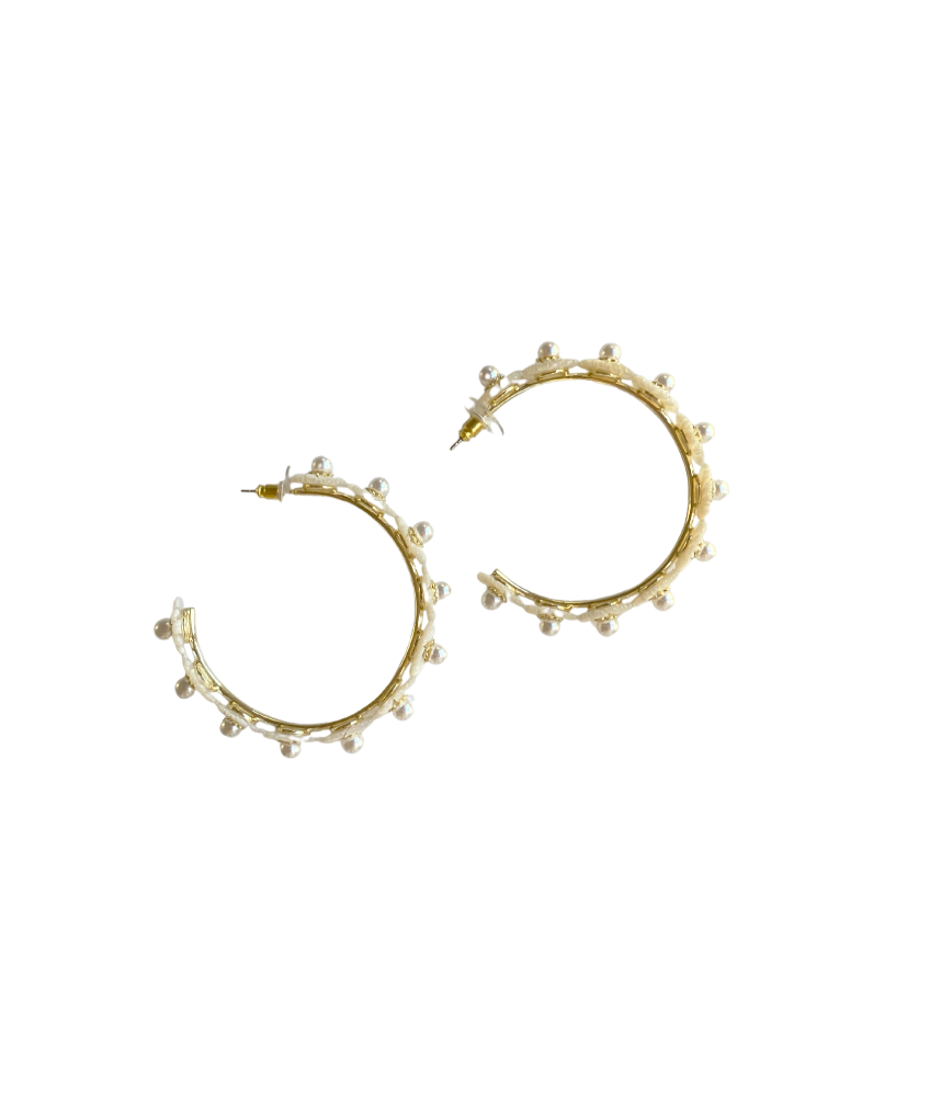 garden collection: mother of pearl wildflower hoops