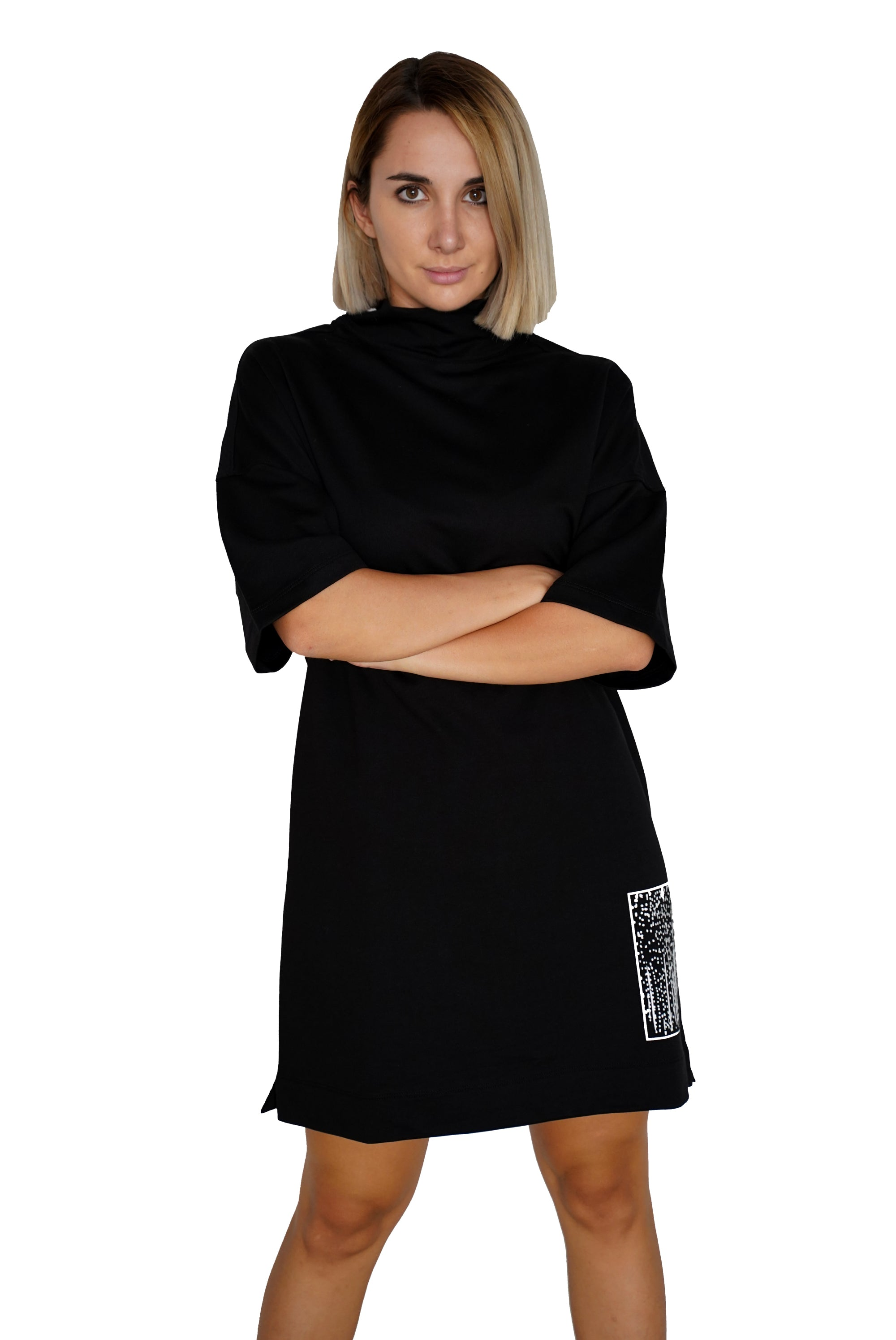 Turtleneck Black Dress - C191015