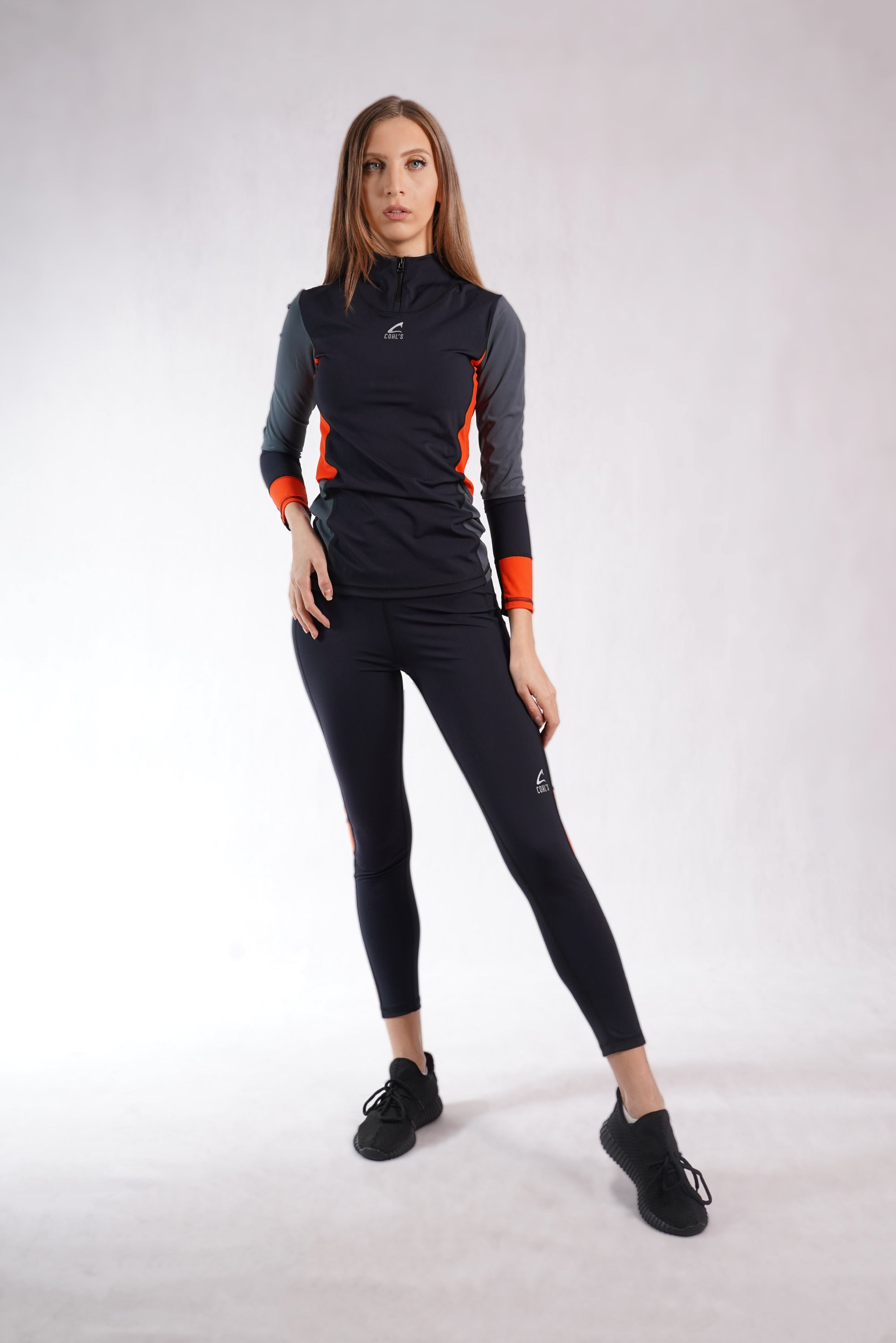 Turtleneck Sweatshirt Black/Orange -C142002