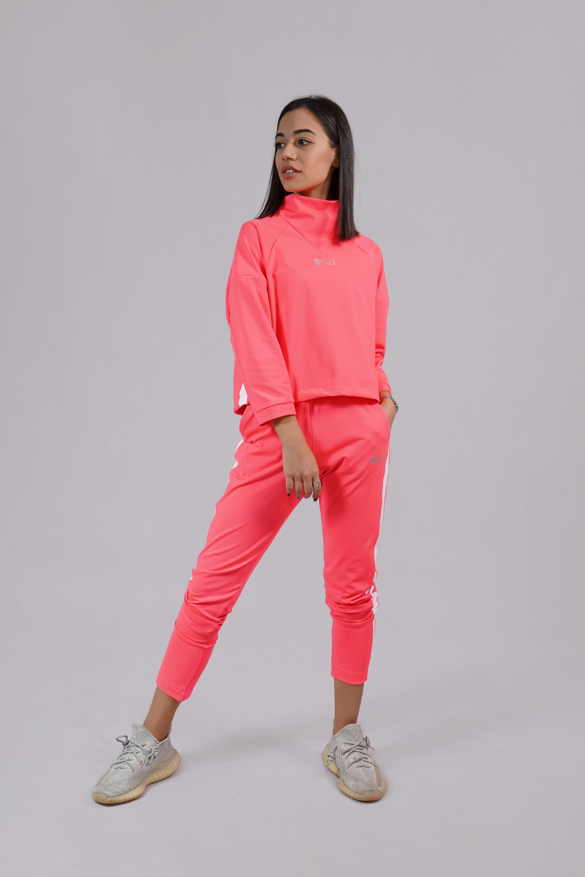 Sweatpants Pink with White Stripes-C112021
