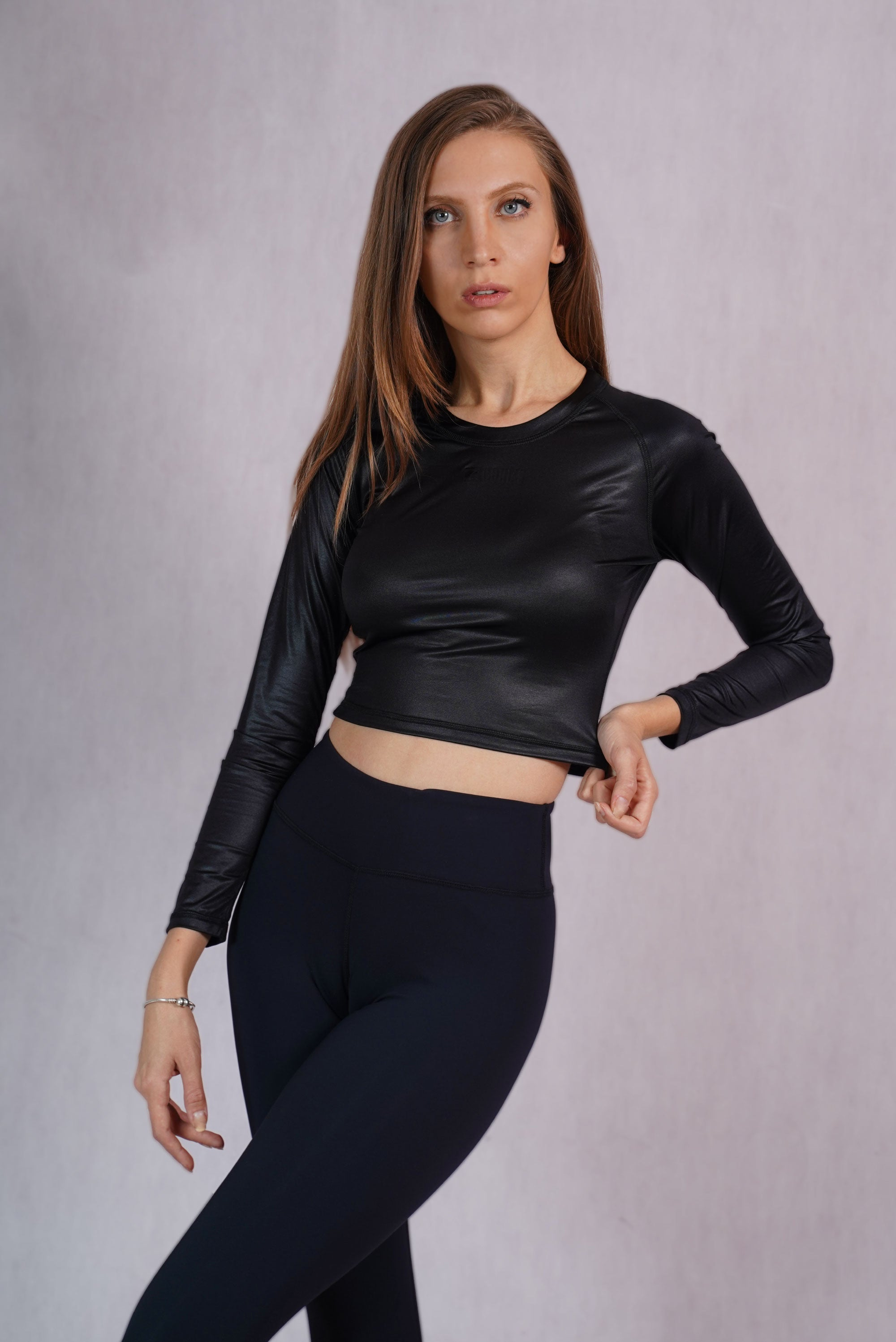 Glossy Black Slim Fit Crop Top -  C142015