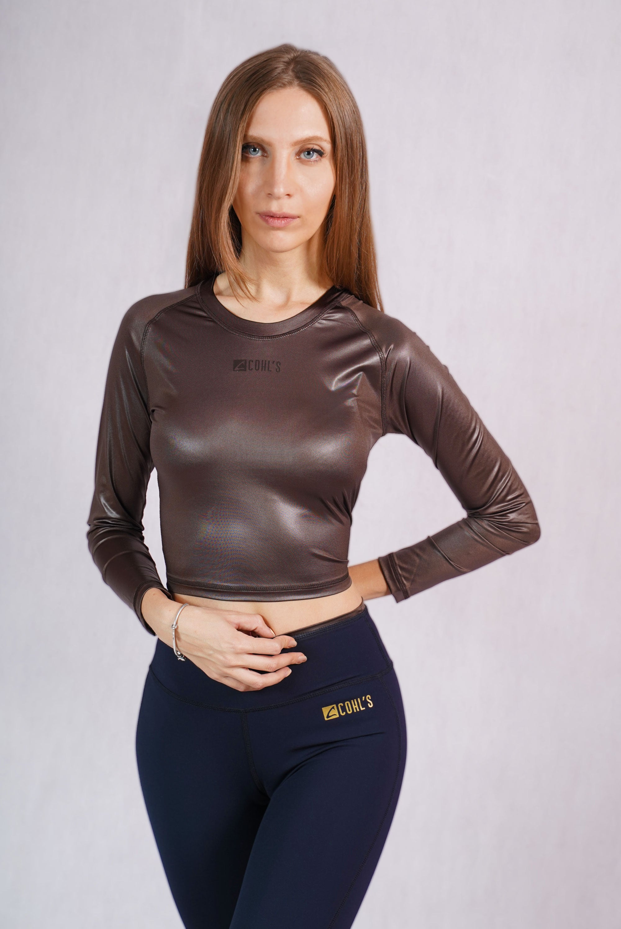 Glossy Brown Slim Fit Crop Top - C142015