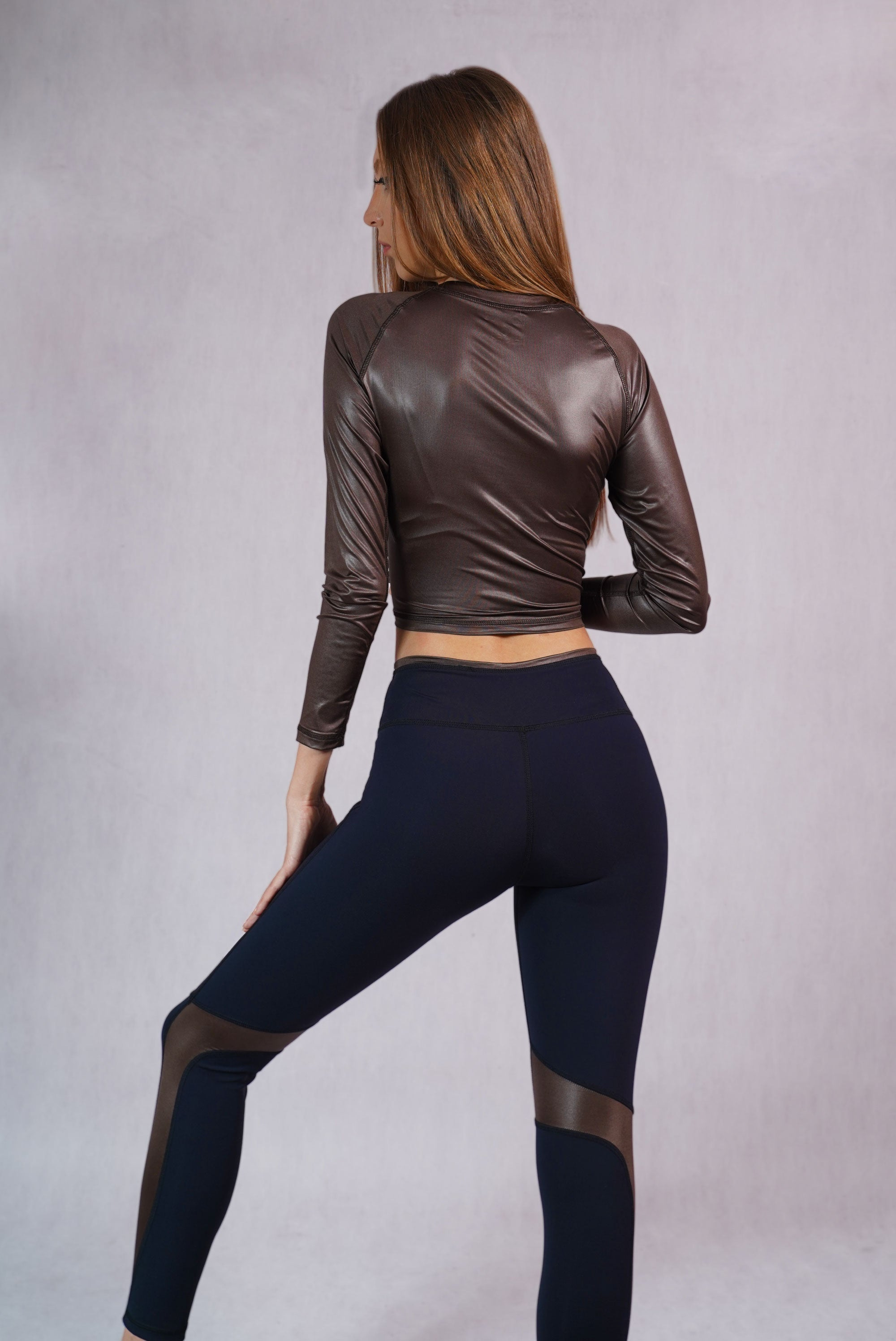 Glossy Detail Leggings Black/Brown - C112008