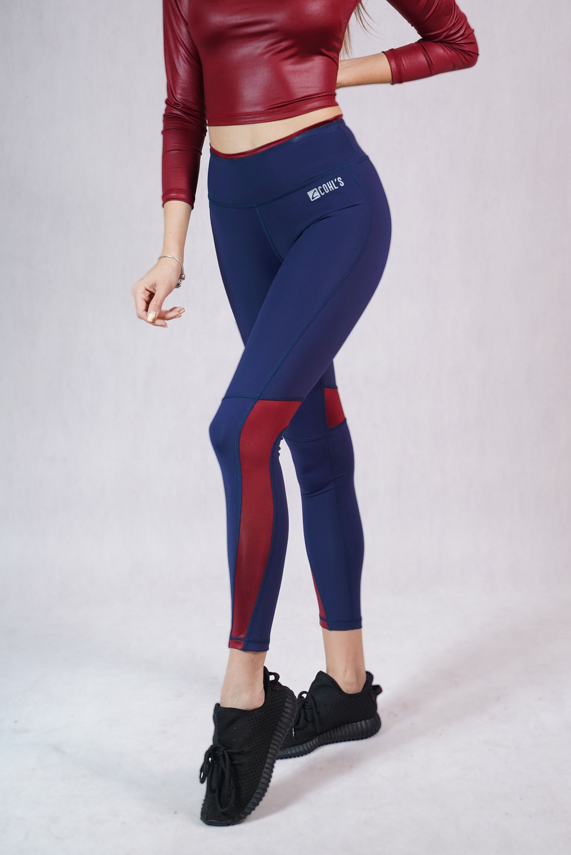 Glossy Detail Leggings Blue/Bordeaux - C112008